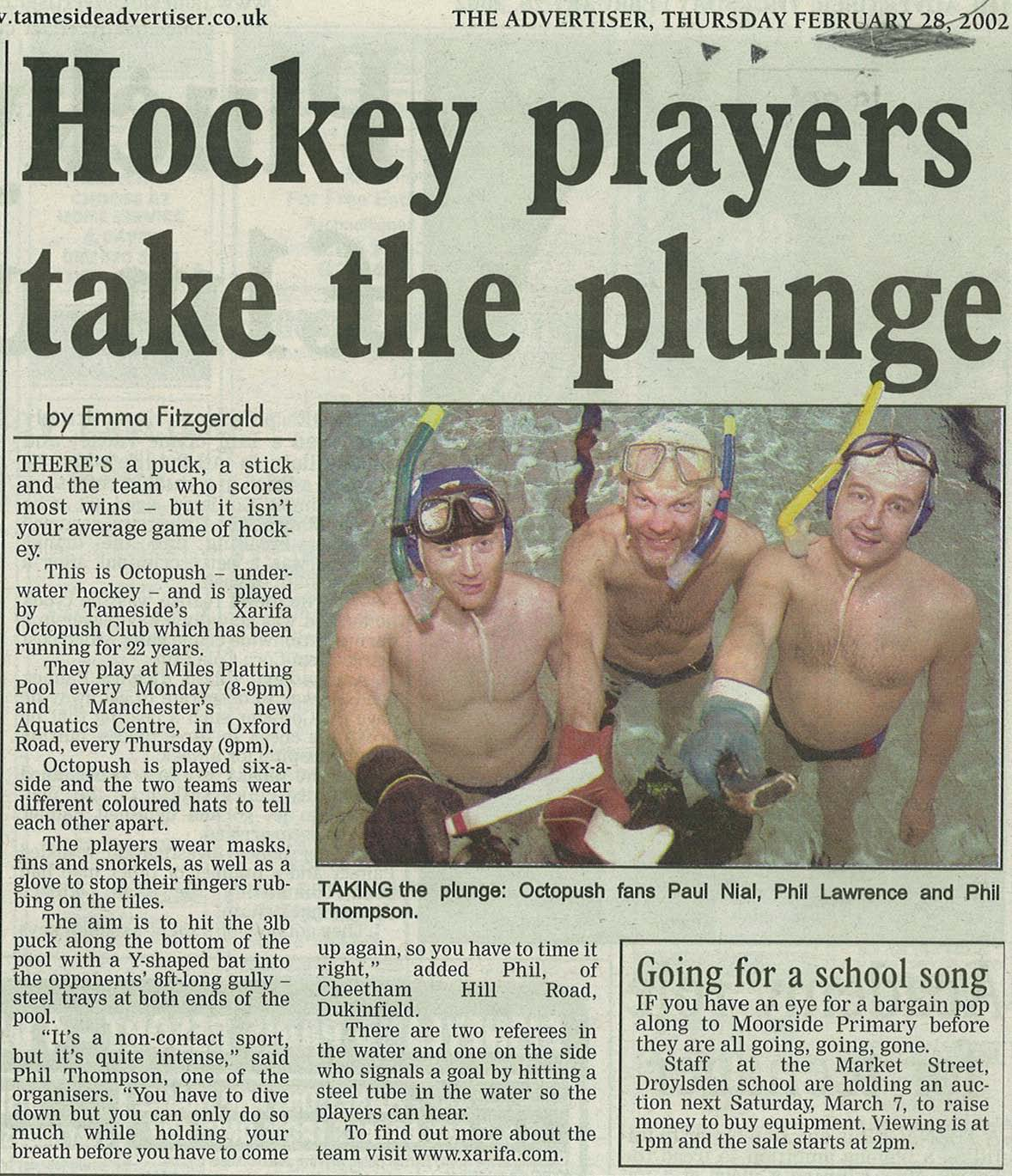 Xarifa Underwater Hockey, Advertiser 28-02-02
